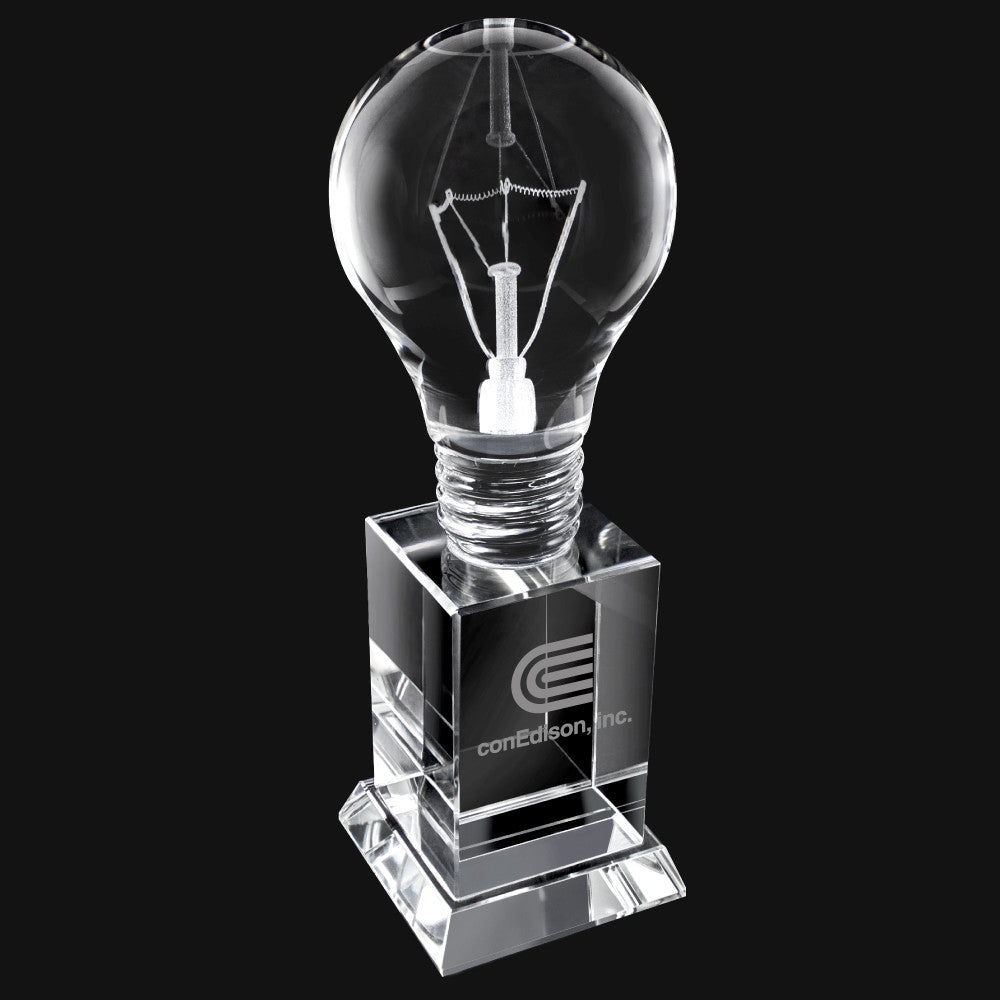 C-2045  CRYSTAL LIGHT BULB TALL TROPHY