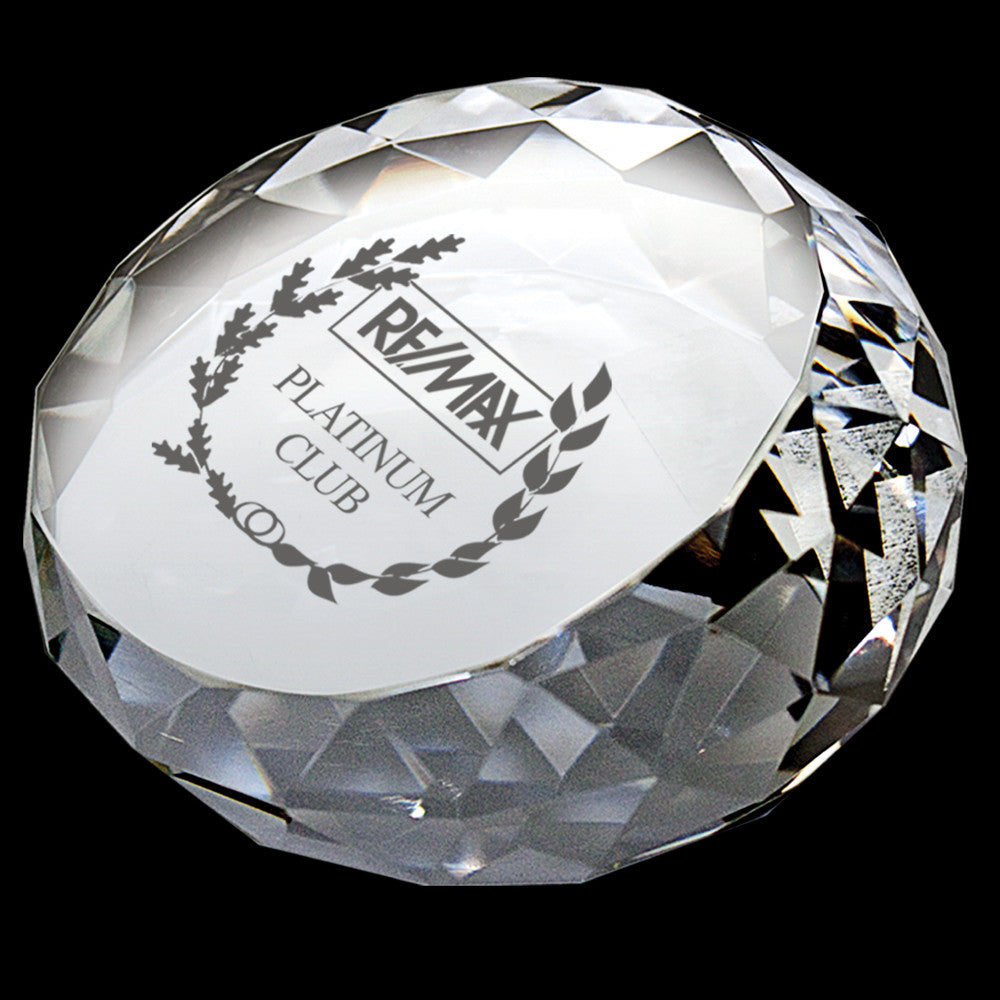 C-330  ROUND DIAMOND CRYSTAL PAPERWEIGHT