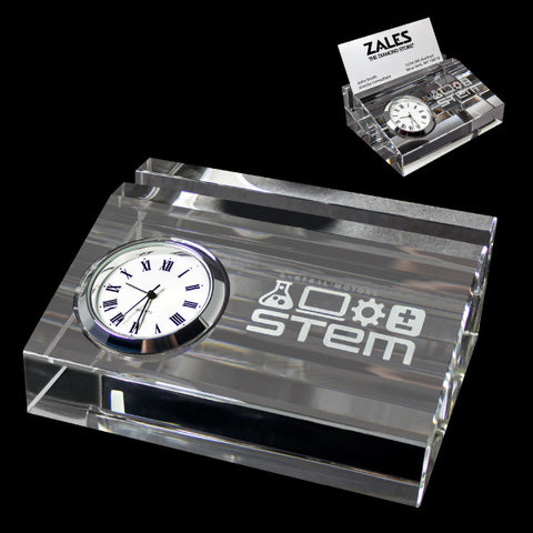C-3641  CRYSTAL CARD HOLDER WITH CLOCK