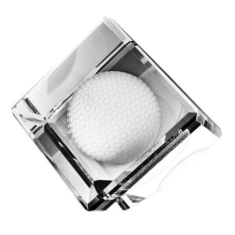 C-6506GF  STANDING CRYSTAL CUBE W/ 3-D GOLF BALL