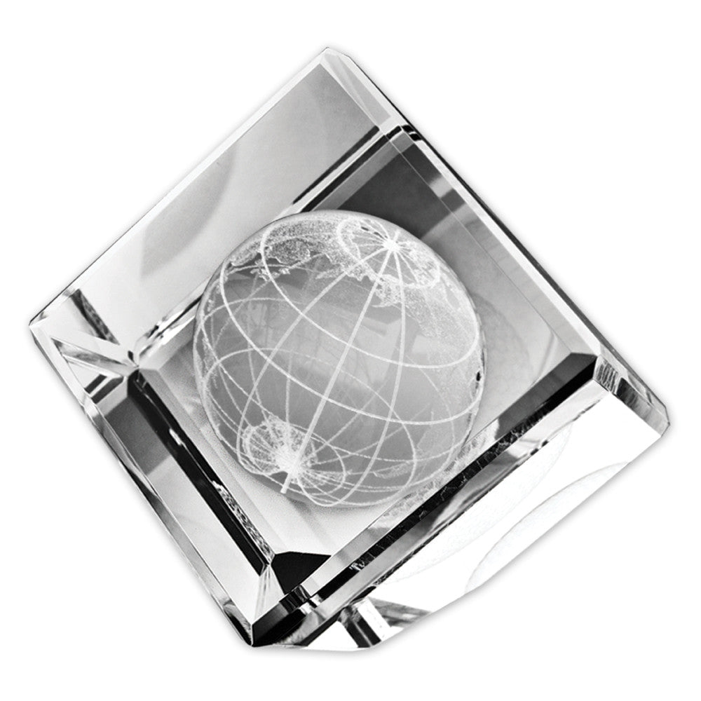 C-6506GL  STANDING CRYSTAL CUBE W/ 3-D GLOBE