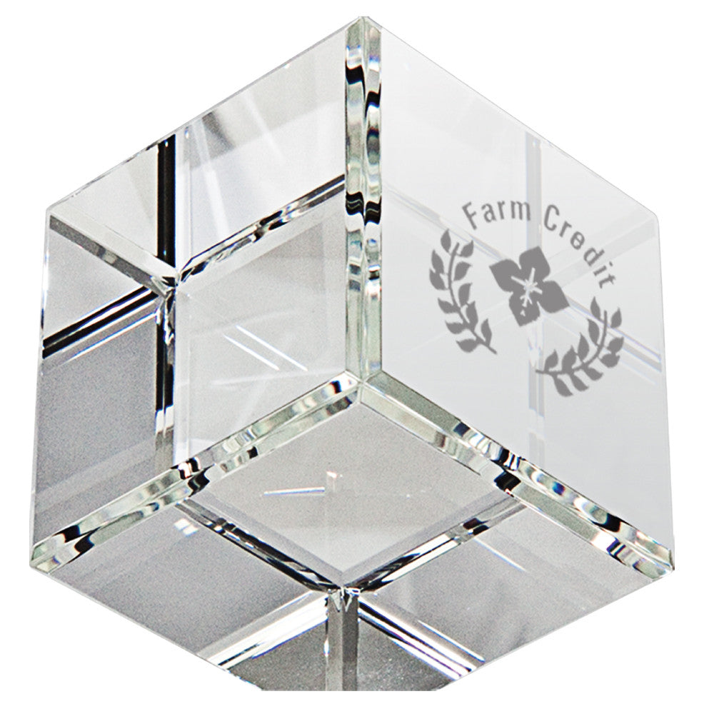 C-6506  Beveled Standing Crystal Cube