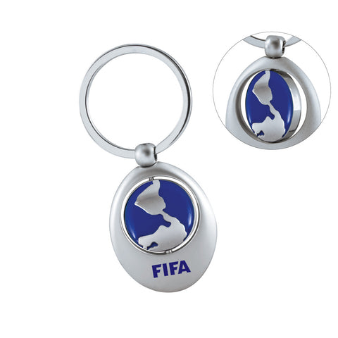 MI-0186BGL  SWIVEL SPORTS KEYCHAIN (BLUE GLOBE)