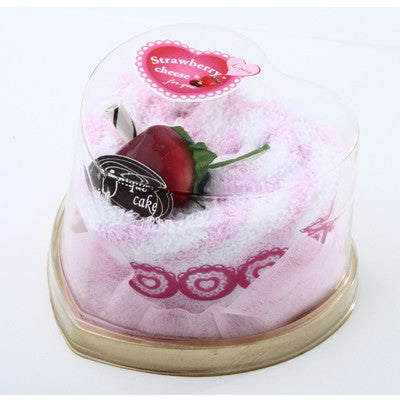 MI-055SH  STRAWBERRY HEART TOWEL CAKE