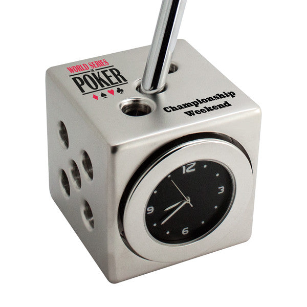 MI-07047  DICE CLOCK PEN HOLDER (PEN NOT INCLUDED)