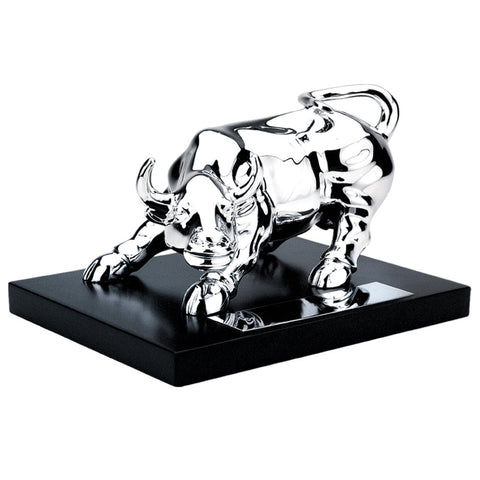 MI-1230W  SILVER PLATED BULL ON WOODEN BASE