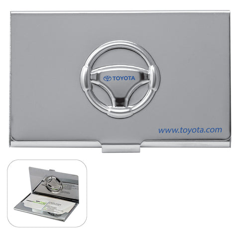 MI-1241  METAL STEERING WHEEL BUSINESS CARD CASE WITH EMBOSSED COVER
