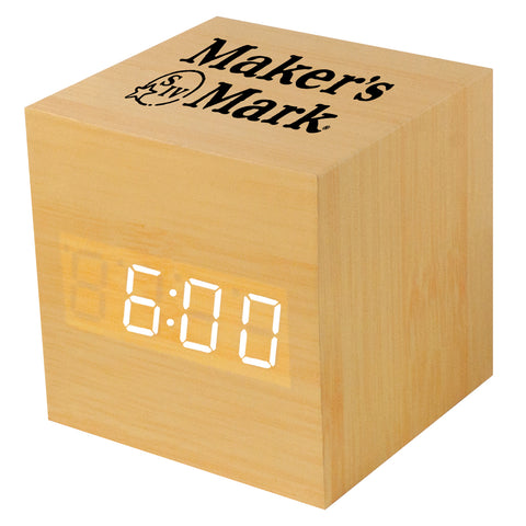 MI-1519  WOODEN LCD ALARM CLOCK WITH SOUND TRIGGERED DISPLAY - SQUARE