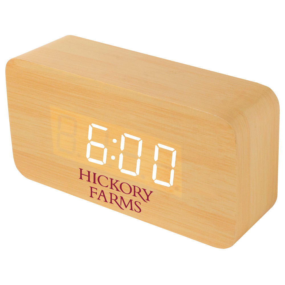 MI-1520  WOODEN LCD ALARM CLOCK WITH SOUND TRIGGERED DISPLAY - MEDIUM