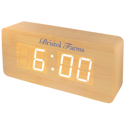 MI-1521  WOODEN LCD ALARM CLOCK WITH SOUND TRIGGERED DISPLAY - LARGE