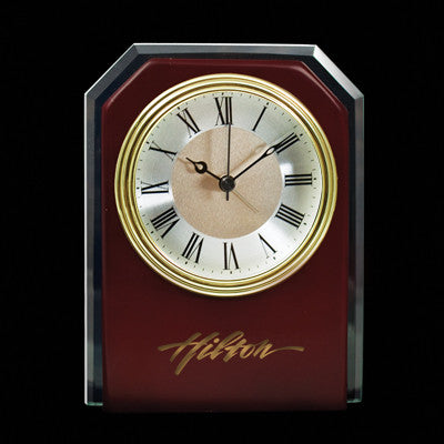 MI-152  WOOD CLOCK WITH GLASS TRIM