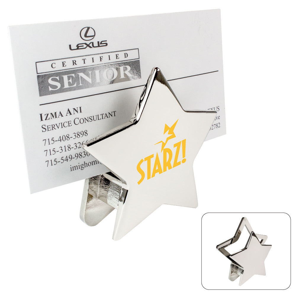 MI-1550  CHROME METAL STAR MEMO/CARD HOLDER