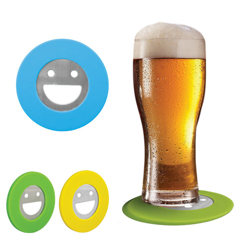 MI-1708  SILICONE SMILEY FACE BOTTLE OPENER / COASTER