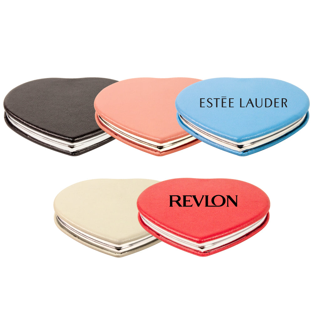MI-1858  PU LEATHER HEART COMPACT MIRROR