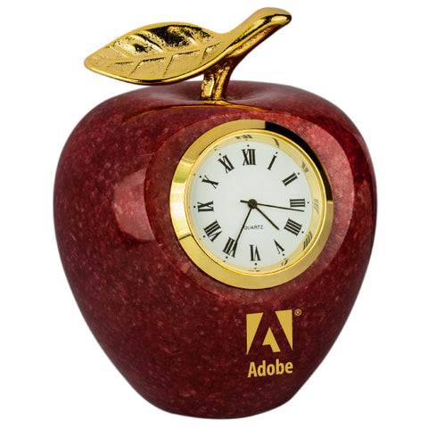 MI-188AG  MARBLE APPLE CLOCK W/ GOLD LEAF