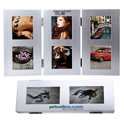 MI-2101  TRI-FOLD 6-PHOTO METAL FRAME
