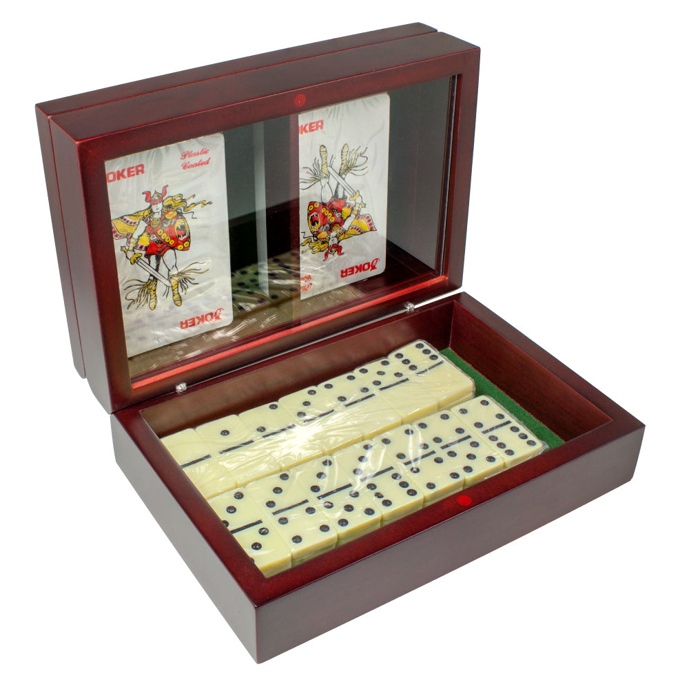 MI-2210  WOODEN DOMINO SET WITH 2 DECKS OF PLAYING CARDS