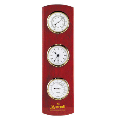 MI-2225  WOODEN WALL WEATHER STATION CLOCK