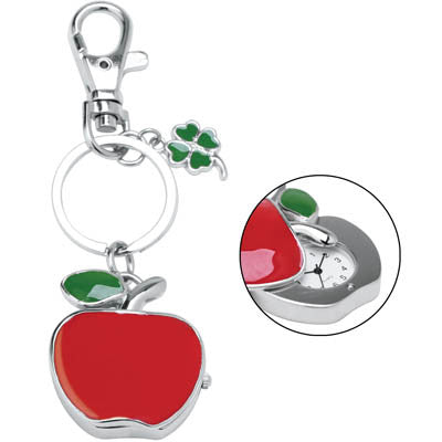 MI-282  SLIDING APPLE CLOCK KEYCHAIN