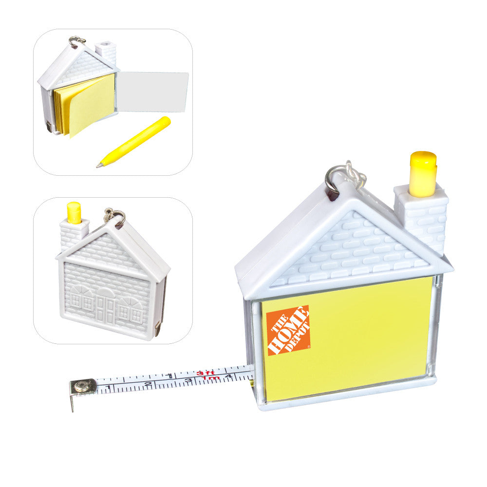 MI-305HS  HOUSE SHAPE MEASURING TAPE W/ PAD & PEN KEYCHAIN