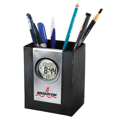 MI-3529  LEATHER PEN HOLDER WITH ALARM CLOCK