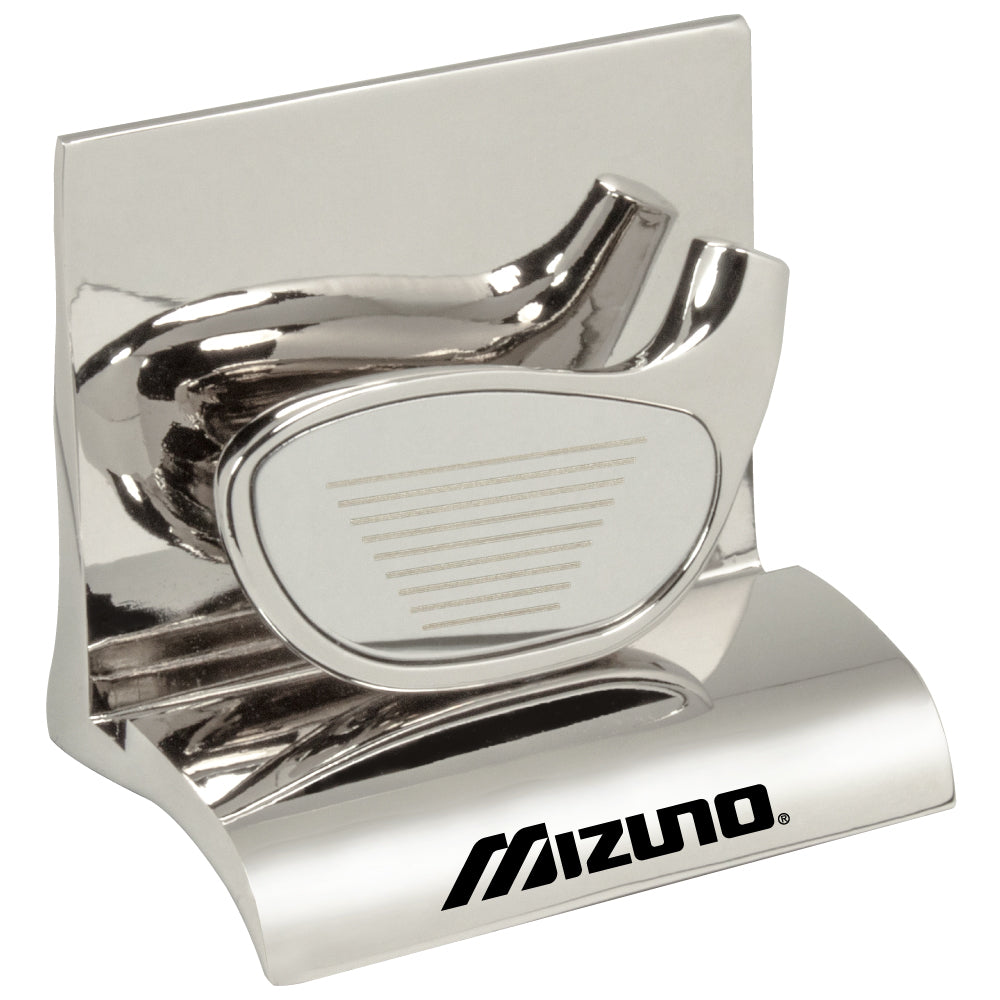 MI-3668GO  CHROME METAL BUSINESS CARD HOLDER - GOLF CLUB