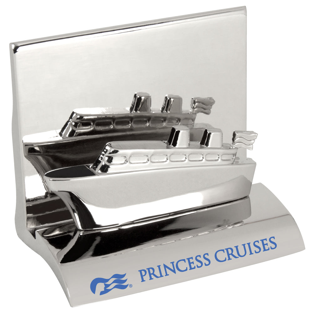 MI-3668CS  CHROME METAL BUSINESS CARD HOLDER - CRUISE SHIP