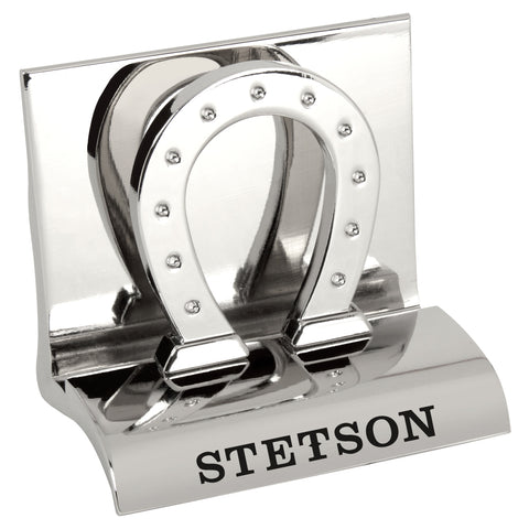 MI-3668HS  CHROME METAL BUSINESS CARD HOLDER - HORSE SHOE