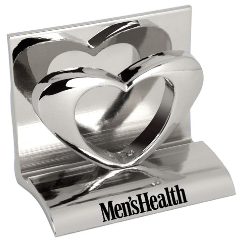 MI-3668HT  CHROME METAL BUSINESS CARD HOLDER - HEART