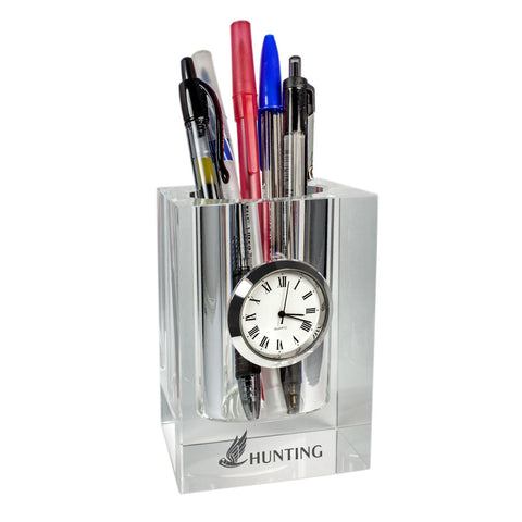 C-3693  CRYSTAL PEN HOLDER WITH CLOCK
