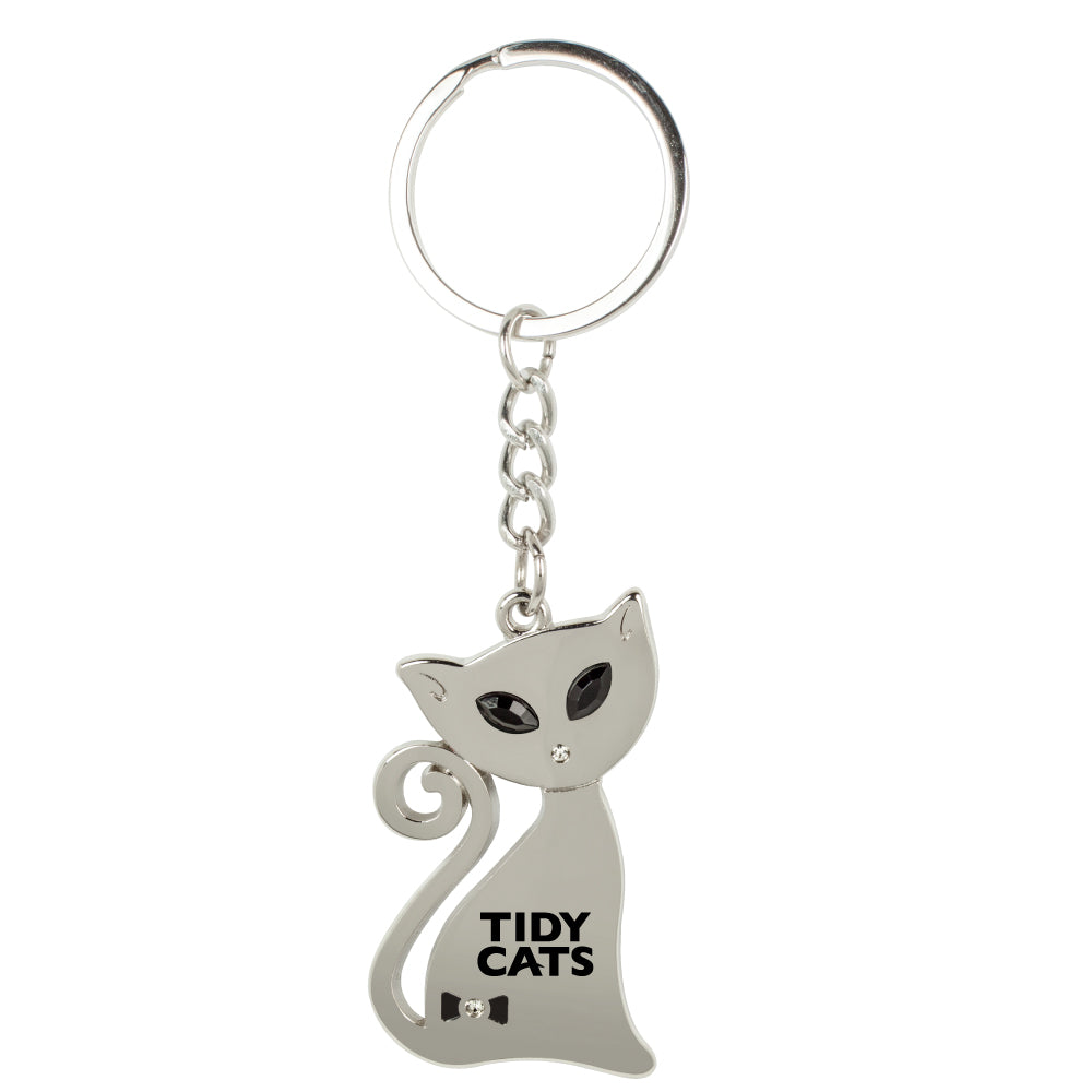 MI-387  CAT KEYCHAIN WITH CRYSTAL EYES