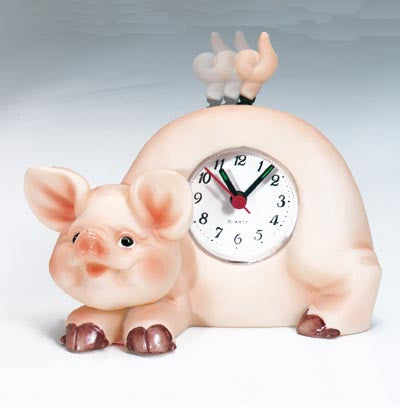 MI-4040PG  PIG CLOCK WITH SWINGING TAIL