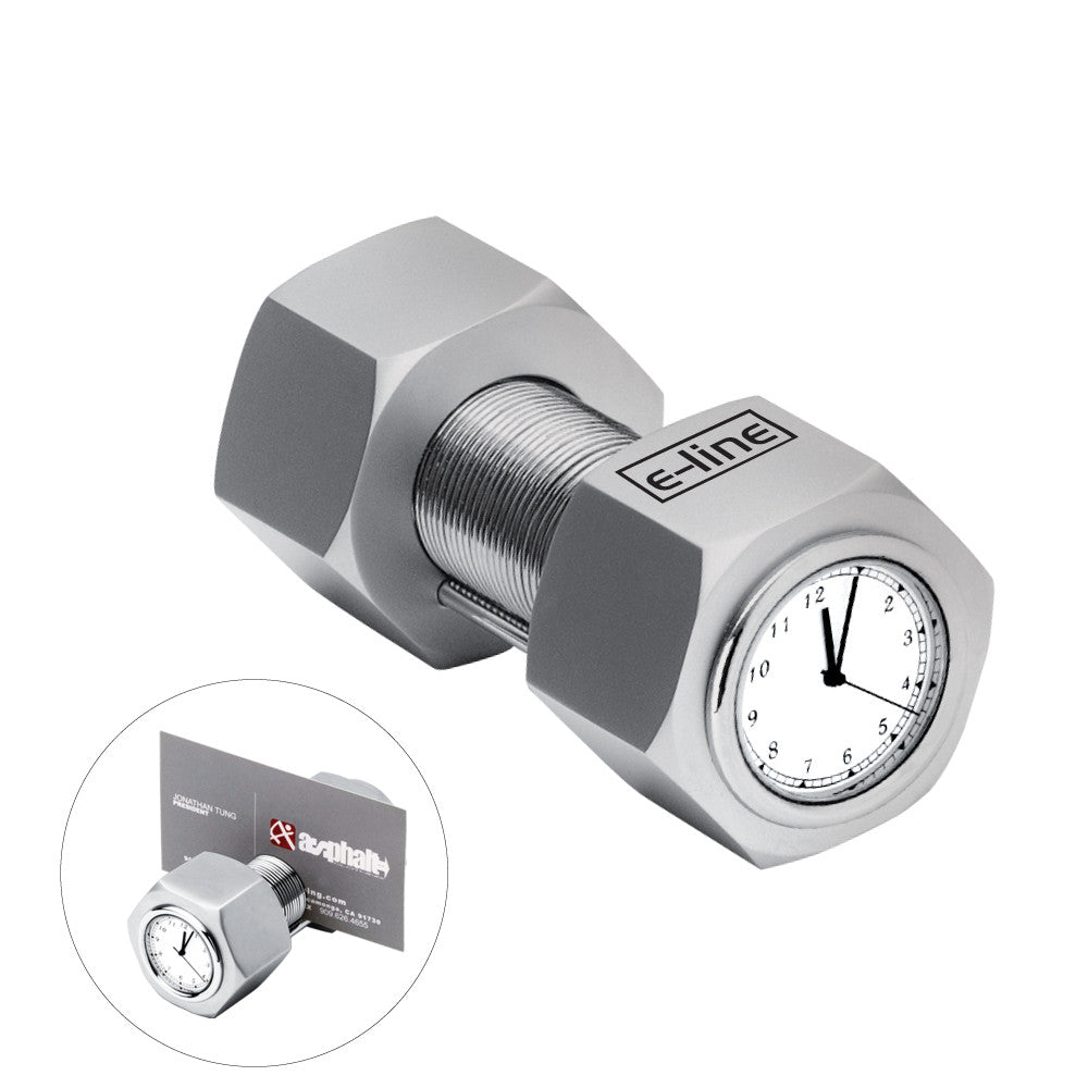 MI-4141  METAL NUT & BOLT CLOCK W/ CARD HOLDER