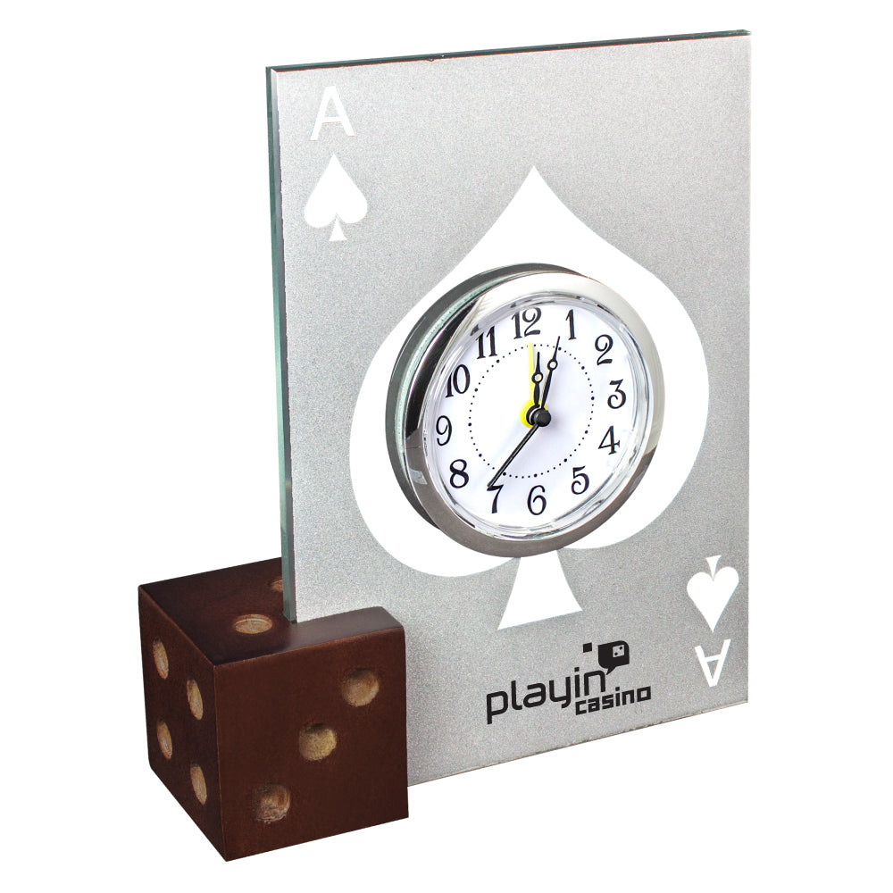 MI-550  GLASS CASINO ALARM CLOCK W/ WOODEN DICE BASE
