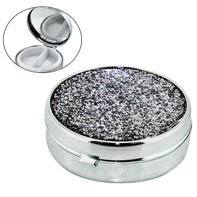 MI-6619  ROUND METAL PILL BOX WITH MIRROR AND GLITTERY COVER