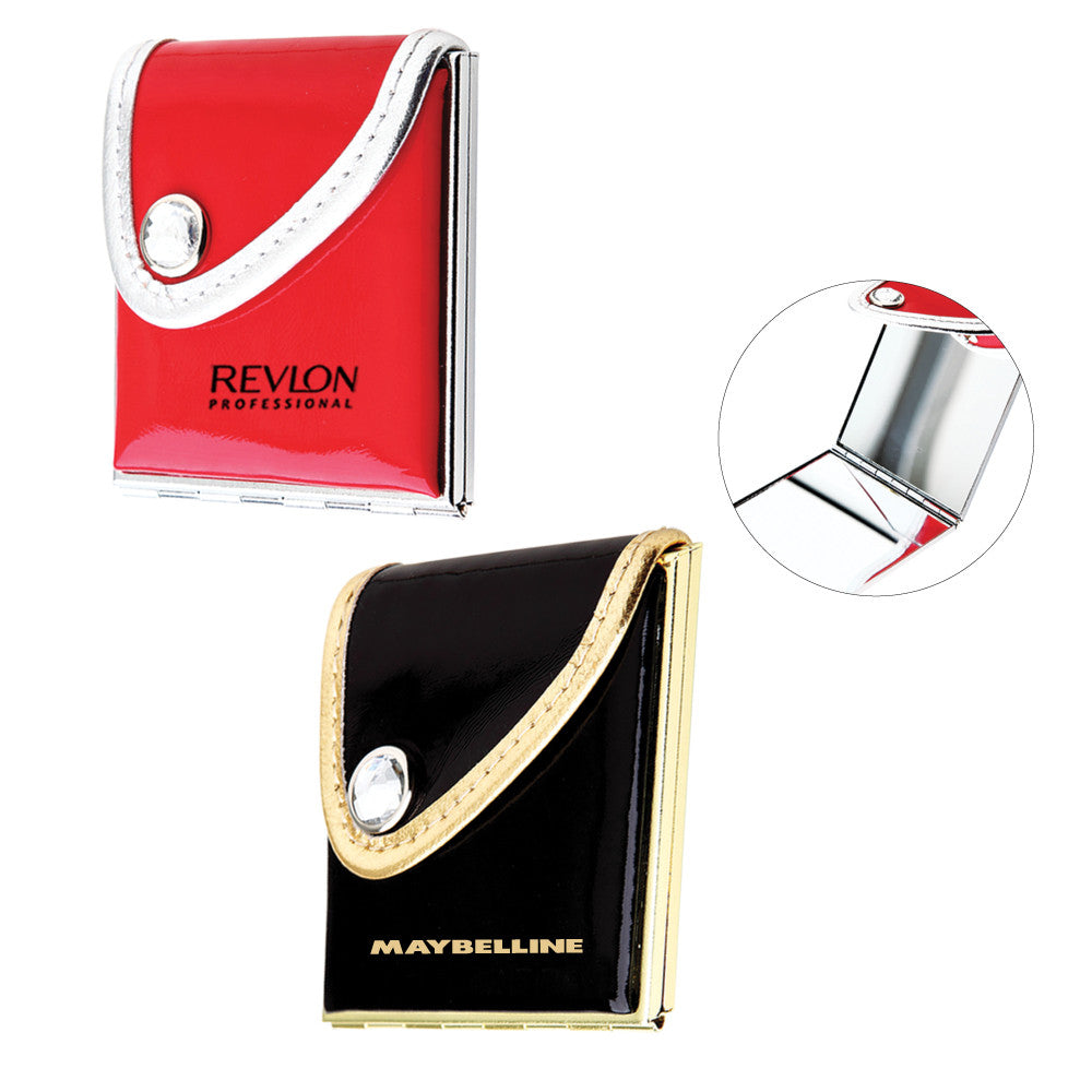MI-8225BK/RD  PURSE COMPACT MIRROR IN SOFT PU LEATHER