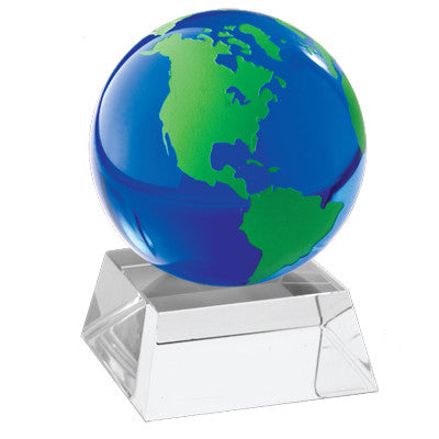 MI-8279G  GREEN GLASS GLOBE PAPERWEIGHT