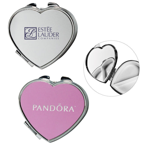 MI-8377  HEART SHAPE METAL PILL BOX WITH MIRROR