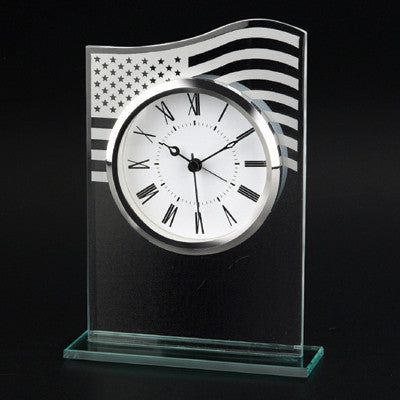 MI-838  US FLAG GLASS CLOCK