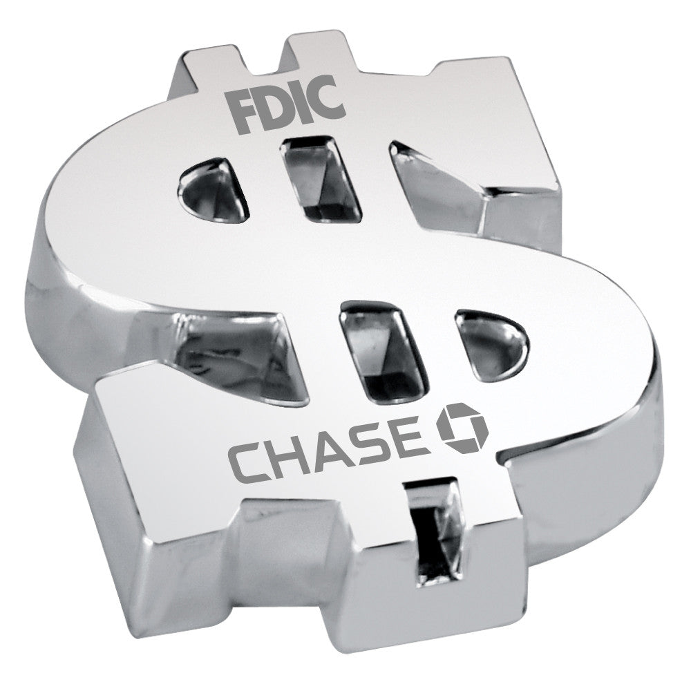 MI-8539/L  SILVER PLATED DOLLAR SIGN PAPERWEIGHT