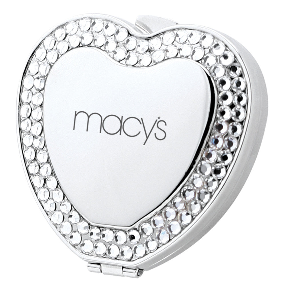 MI-8556  METAL HEART SHAPE COMPACT MIRROR WITH CRYSTAL JEWELS
