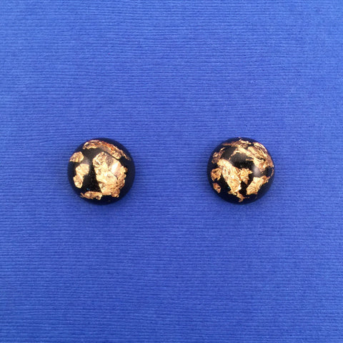 Confetti Lucite Small Gold Leaf Sparklite™ Earrings in Black