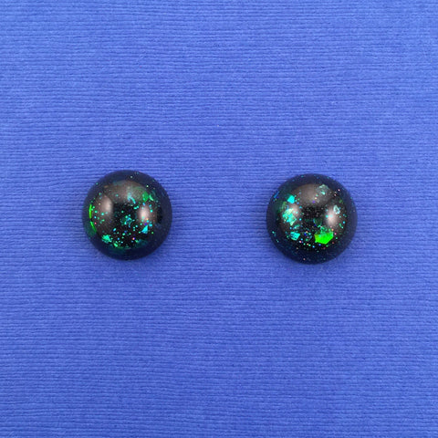 Confetti Lucite Small Round Sparklite™ Earrings in Galaxy