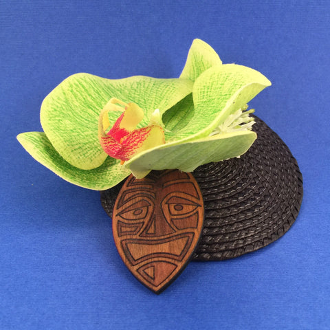 Orchid and Wooden Tiki Mask Litewood™ Cocktail Hat In Green