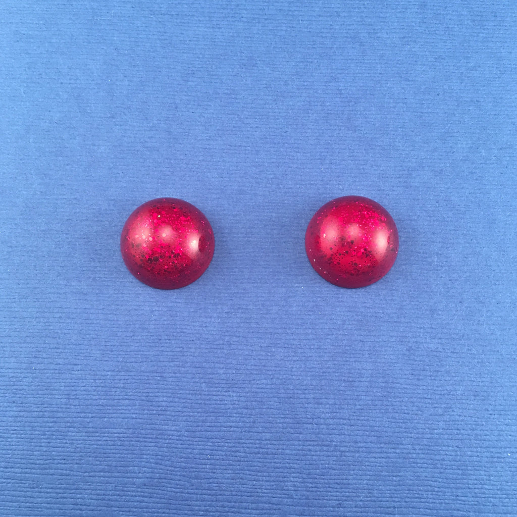 Confetti Lucite Small Round Sparklite™ Earrings in Ruby