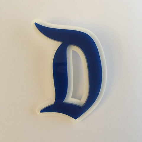 "Flare Layered Gothic ""D"" Brooch in Blue over White"