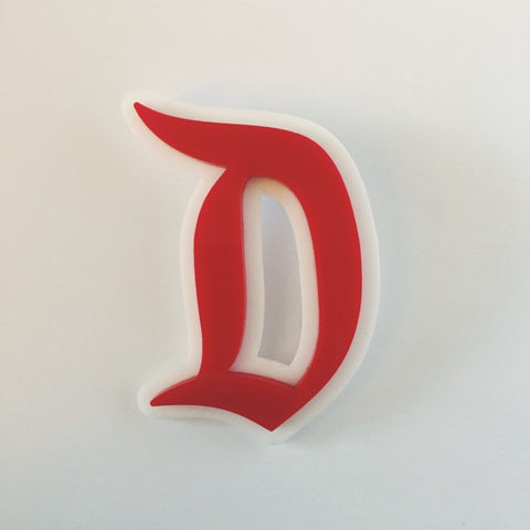 "Flare Layered Gothic ""D"" Brooch in Red over White"