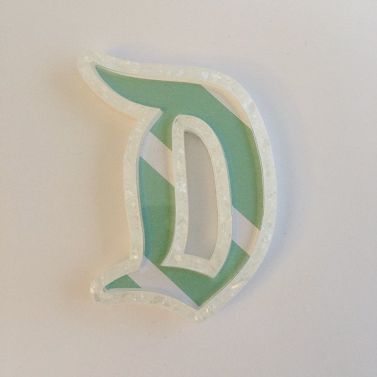 "Flare Printed Gothic ""D"" Brooch in White Glitter and Mint Stripe Print"