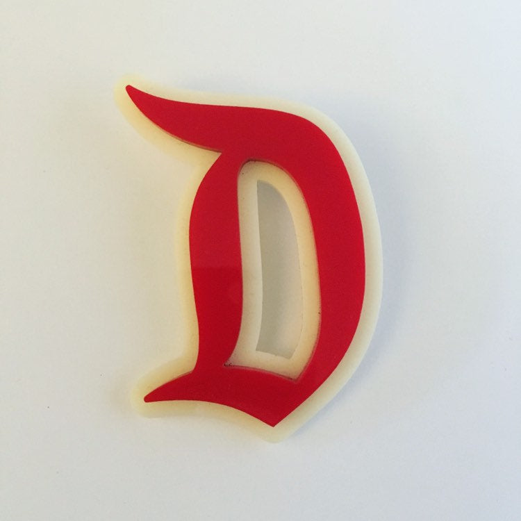 "Flare Layered Gothic ""D"" Brooch in Red over Cream"