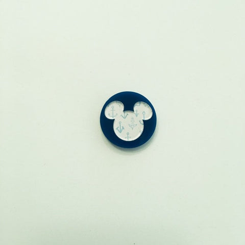 Flare Printed Mouse Lapel Pin in Blue with Anchor Print